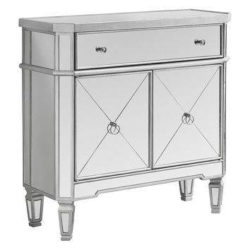 """Accent Table - 32""""L / Brushed Silver / Mirror"""