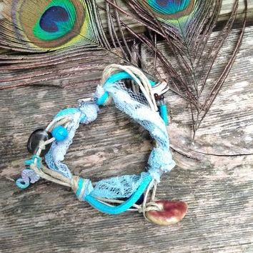 Bracelet - Mixed Media - Suede Jewelry - Hemp Jewelry - Beaded Jewelry - Knotted Bracelet - Boho Style - Fashion Accessories - Blue - #368
