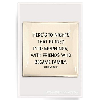 Here's To Nights That Turned Into Mornings Decoupage Glass Tray