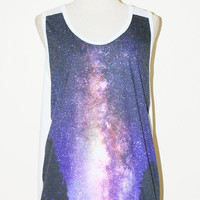Star Cluster Milky Way Universe White Tank Top by pleiadeshop