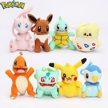 Plush Pikachu Bulbasaur Charmander Piplup Squirtle Eevee Mew Stuffed Animals Small Pendant  ToysKawaii Pokemon go  AT_89_9