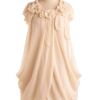 Ryu 20s Short Length Cap Sleeves Sack Ivory Rose Dress
