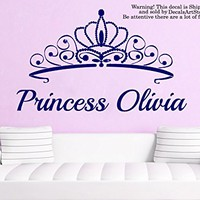 Princess Wall Decals Custom Personalized Name Sticker Crown Tiara Little Girls Room Vinyl Decal Baby Kids Nursery Children's Decor Art Mural SM183