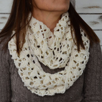 Cream infinity scarf, crochet wrap, warm cowl, lacy scarf, winter wool scarf, womens scarf crochet, circle crarf