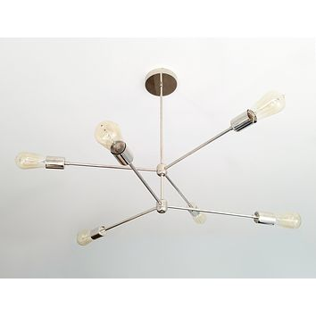 Annunciation Chandelier: 6-light raw brass or chrome sputnik chandelier