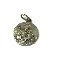 Vintage French Religious Medal . Guardian Angel and Saint Joseph . Silver Pendant