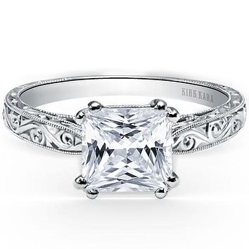 "Kirk Kara ""Stella"" Princess Cut Diamond Solitaire Engagement Ring"