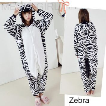 Zebra - Cute Pajamas Animal Onesuit Cosplay Costume Unisex Sleepwear Party Nightgown Pockets