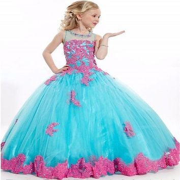 2015 Elegant Applique Long Aqua Blue Pageant Ball Gowns for girls at Party/Girls Beautyful Girls Pageant Dresses