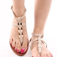BEIGE BRONZE T-STRAP BUCKLE SIDE FLAT SANDALS
