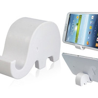Elephant Design Cell Phone Tablet PC Stand Holder (White)