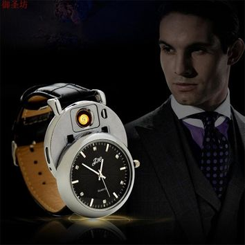 Gold Leather Strap Change Electric Wire Army Men Quartz Watch Charging Lighter W