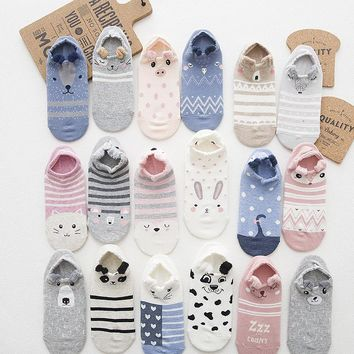 Foot 22-25cm 1lot=4pairs Slippers Cartoon Ankle Socks Paw Pretty Bunny Elephant Penguin Owl Deer Fox Raccoon Cat Kitty for Tods