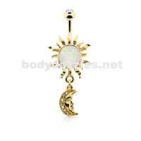 Golden Opal Celestial Sun Moon Belly Button Ring 14ga Navel Ring Body Jewelry