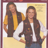 Pattern for semi-fitted, lined vests with collar and hemline variations with appliques misses size 6 8 10 12 14 16 18 20 22 Vogue 955 UNCUT