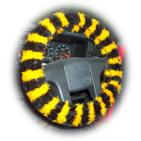 Fuzzy faux fur Bumble Bee car steering wheel cover cute Gold and Black fluffy stripes