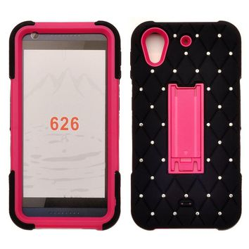 HTC Desire 626 Case, Heavy Duty Armor Diamond Rhinestone Hybrid Case with Kickstand for Desire 626 - Black/Hot Pink