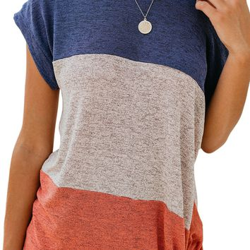 Casual Jaxon Color Block Twist Short Sleeve Tee