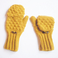 Convertible crochet fingerless glove mittens in Mustard Yellow wool blend yarn, ready to ship.