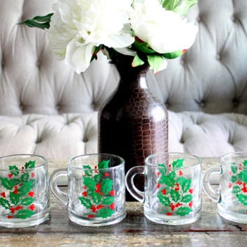 Vintage Set Of 4 Christmas Clear Glass Mugs // Christmas Dinnerware // Glassware // Holiday Dinner Table / Christmas Decor