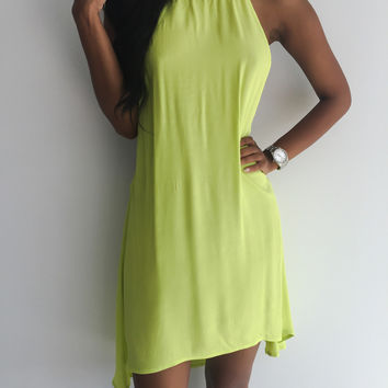 Light Green Halter Mini Dress