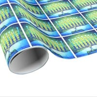 Fun, Trendy, Blue Hanukkah Menorahs Pattern Photo Wrapping Paper