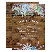 Rustic Floral Country Save the Date Invitation