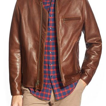 Men's Schott NYC 'Cafe Racer' Moto Leather Jacket