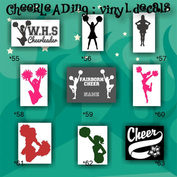 CHEERLEADING vinyl decals - 55-63 - car stickers - cheerleader sticker - car decal - custom vinyl decals - personalized stickers
