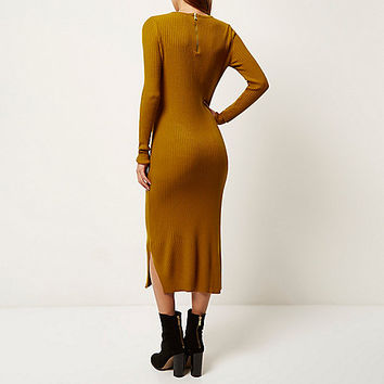 Mustard yellow ribbed bodycon midi dress - knitted dresses - dresses - women
