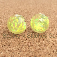 Earrings Bright Yellow Fire Opal Resin Boho Earrings 12MM Faceted Earrings