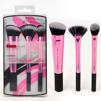 Cosmetic 3 Pcs Aluminum Tube Fiber Facial Makeup Brushes Set