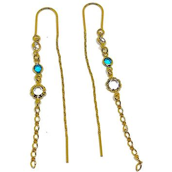 Simple Clear Faux Stone Threaders Earrings 18K of Gold-Filled