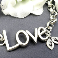 Personalized Silver Love Bracelet His And Hers Custom Initials Infinity Love Wife Girl Friend