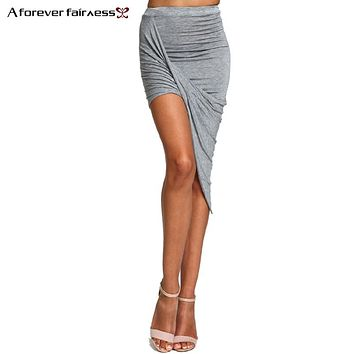 Womens Summer Hem Cross Fold Sexy Wrap Banded Waist Draped Cut Out Asymmetrical Pencil Skirt