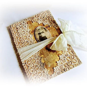 Vintage Lace Journal Shabby Chic Journal Vintage Christmas Notebook Winter Journal Xmas Gift Vintage Diary Gift for Girl Memento Journal