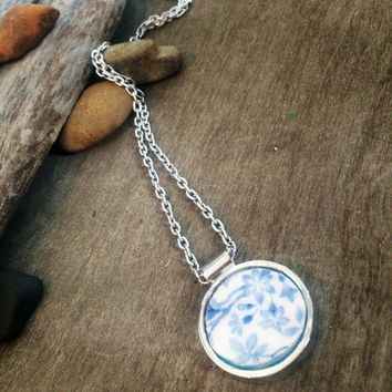 Broken China Jewelry,  Floral Pattern, pottery shard necklace, handmade, circular, silver bezel, Earth Sisters