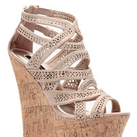 Nude Laser Cut Curves Ahead Cork Wedges