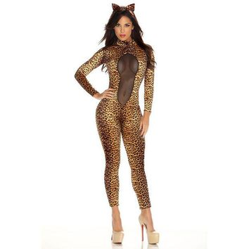 ONETOW Patent leather sexy women wild cat Siamese cat girl cosplay Leopard Catwoman costume party [8978892167]