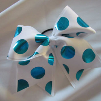 "Foiled Turquoise Blue Polka Dots Cheer Bow on 3"" White Ribbon"