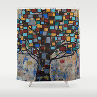 :: Stained Glass Tree :: Shower Curtain by :: GaleStorm Artworks ::