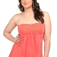 Torrid Plus Size Twist Tees - Coral Basket Woven Front Smocked Tube Top