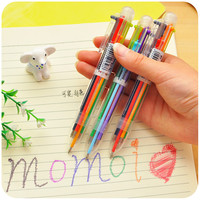 Cute Creative 6 Colors Plastic Ballpoint Pen Lovely Kawaii Ball Pens For Kids Korean Stationery 085