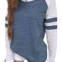 Famulily Women's Long Sleeve Baseball Tee Shirt Crew Neck Colorblock Striped Tops