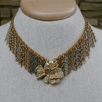 Upcycled Mixed Chain Bib Fringe Choker Necklace with Adjustable Length One of a kind Repurposed Recycled