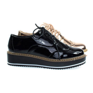 Mick1 Black  By Bonnibel, Platform Creepers Brogues Oxford Shoe, Women Wingtip Lug Sole Flatform