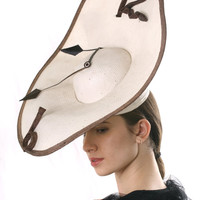 FREE shipping Ascot hat! Stunning Royal Ascot saucer fascinator hat inspired by Dali,Cream Kentucky derby hat, Melbourne cup hat fascinator