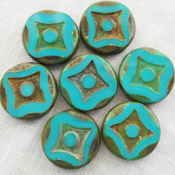 Six 15mm opaque green turquoise picasso, Czech glass table cut, carved, disc or coin beads C02106
