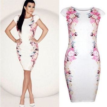 women formal short-sleeve  white dress one-piece dress Print Floral large size dress LJ040QAF = 5710300417