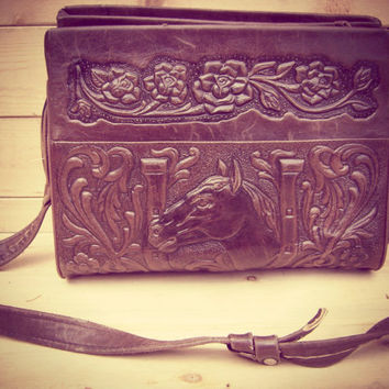 80s tooled leather HORSESHOE roses handbag vintage cross body shoulder bag dark brown horses western hippie boho purse EQUESTRIAN 1980s tote